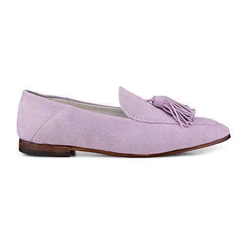 Cox Damen Tassel-Loafer aus Leder, Slipper in Lila mit eleganter Laufsohle und schicken Quasten Lila Rauleder 38