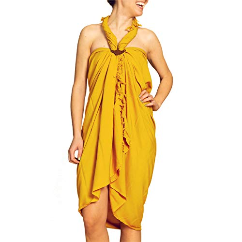 PANASIAM Sarong uni safron yellow in L (190cm)