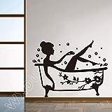 Pegatinas en la puerta de la sala de ducha de cristal para niños ducha linda pegatinas de pared impermeable desmontable baño baño decoración etiqueta de la pared 58 x 76 cm
