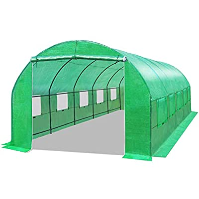 BenefitUSA Multiple Size Large Greenhouse Walk in Outdoor Plant Gardening Hot Greenhouse (24.6'x10'x7')