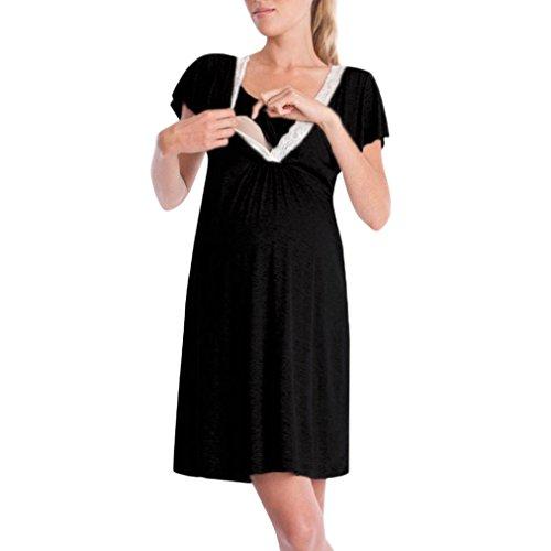 QinMM Vestido Lactancia Maternidad Noche Camisón