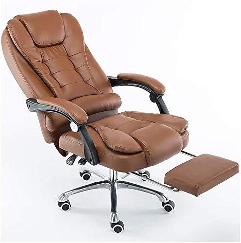N/Z Living Equipment Ergonomischer Stuhl Leder mit hoher Rückenlehne Executive Teleskop-Fußstütze Boss Chair Liegestuhl schwarz (Farbe: Braun)