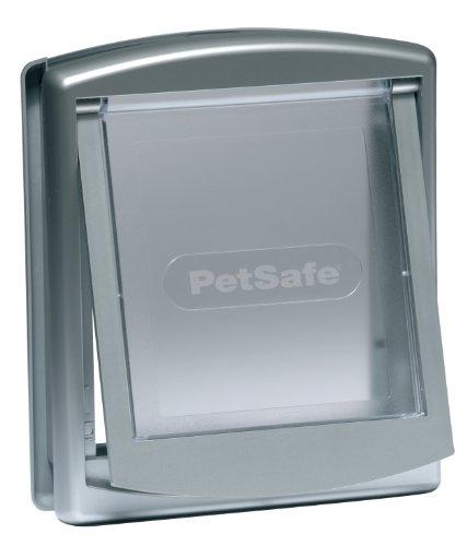 PetSafe Staywell Original Katzenklappe u. Hundeklappe, 2 Verschluss-Optionen inkl. Verschlussplatte, Robuste Kunststoff Klappe, Katzenklappe u. Hundeklappe für Innentür & Außenmontage, Größe L, silber