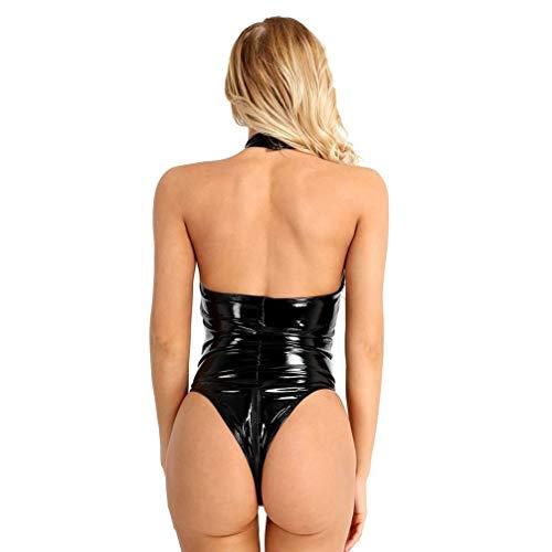 HEALLILY Mujer de Aspecto Mojado Lencería Sexy Body Halter de Cuero con Cremallera Mono Entrepierna sin Espalda Body Teddy Clubwear (Negro Xxl)