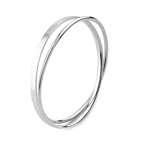 Merdia S990 Solid Sterling Silver Polished and Textured Twisted Bangle Bracelet for Women 6cm