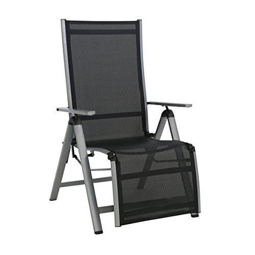 greemotion Relaxsessel Monza Comfort silber/schwarz, für den Innen- und Außenbereich, Stuhl mit 7- fach verstellbarer Rückenlehne, schmutzunempfindlich und pflegeleicht, Sitzmaße: ca. 55 x 42 x 44 cm