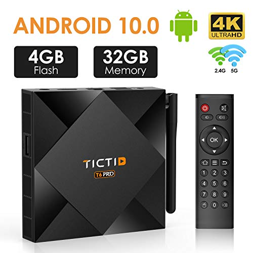 TICTID Android 10.0 TV Box 【4G+32G】, T6 Pro H616 64-bit Quad Core Arm Cortex A53 CPU 100M LAN, Wi-Fi-Dual 5G/2.4G, BT 4.0, 4K2K Smart TV Box