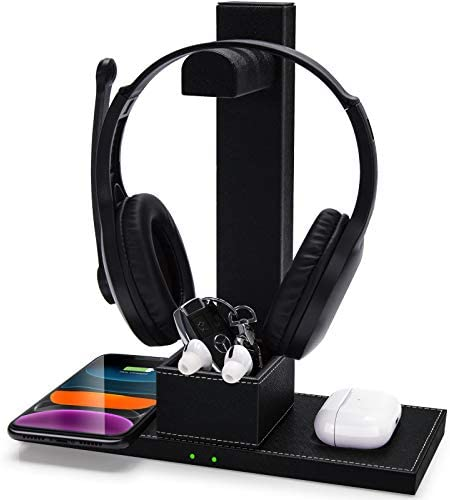 FutureCharger PU Leather Gaming Headset Stand 2 in 1 Fast Wireless Charger with Detachable Earphone product image