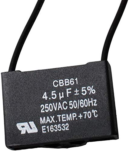 Wadoy CBB61 Ceiling Fan Capacitor Compatible with New Tech 2 Wire 4.5uf 50/60Hz 250VAC