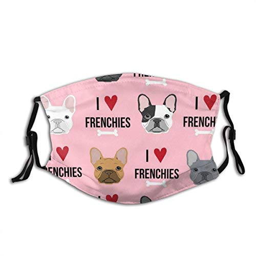 I Love French Bulldogs Cloth Face Mask with Filter Pocket Reusable Face Bandanas Balaclava Washable Breathable Fabric Mask with 2 Pcs Filters