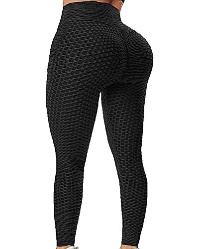 Rexchi Anti Cellulite Butt Lifting Workout Leggings for Women Compression Yoga Pants Sexy Tights Black