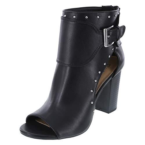Brash Women's Black Sarahfenia Stud Peep Toe Heels 8.5 Regular