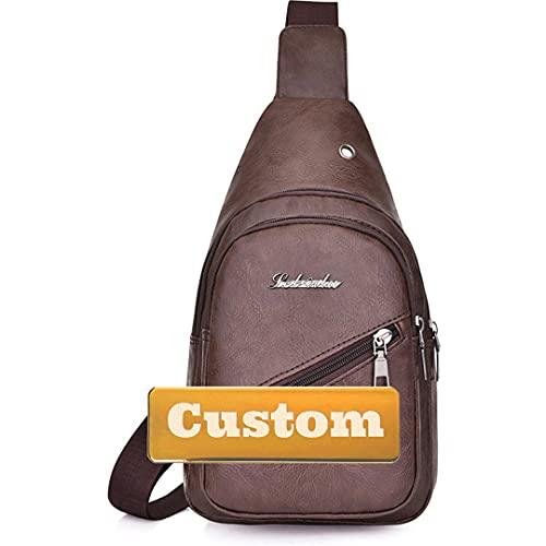 Nombre Personalizado Mujer Sling Bag Ligera Peso Casual Daypack Mujer Monedero Pequeño Daypack Senderismo (Color : Brown, Size : One Size)