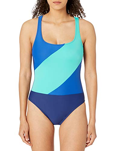 next Damen Bold Blocks ONE Piece Einteiliger Badeanzug, blau, X-Small