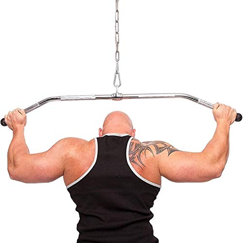 LOXZJYG LAT Pull Down Bar, Attachment for Cable Machine, Exercises Tricep Back MusclesRevolving Solid 48 inch Stainless Steel LAT Bar Cable Attachment