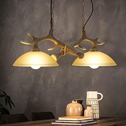 ZMH Lámpara colgante LED de mesa de comedor, altura regulable, con cuernos, cuerno de ciervo, iluminación de techo vintage, madera, 2 bombillas E27 para comedor o salón