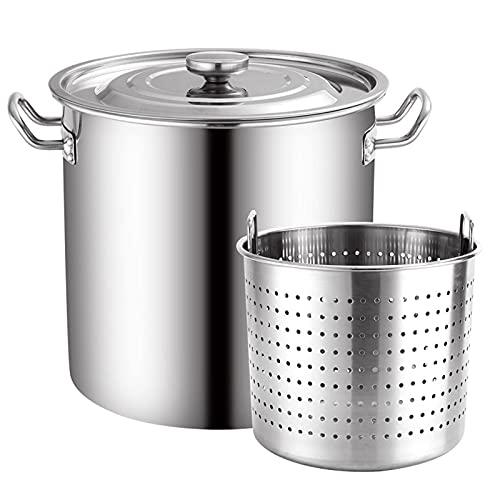 Showyow - Pentola a induzione in acciaio INOX di grado commerciale con coperchio e cestello, 20 l, resistente pentole da cucina lucidate con manico (argento)