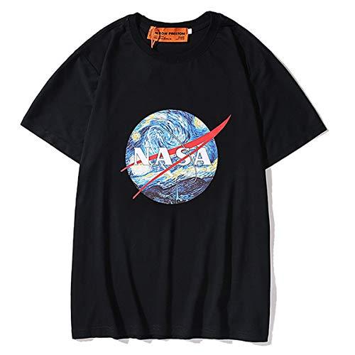 AYUSHOP NASA Unisexe T-Shirt avec imprimé Ciel de Van Gogh, col Rond de Poche Sweat-Shirt pour Hommes, Sweat-Shirt Courtes, Manches Longues Pull Couple Sweat Top,Noir,L