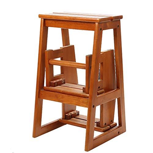 WYDM Dreistufige Leiter, Barstuhl aus massivem Holz, Klapppedal für Erwachsene für Schuhbank/Tritthocker (Farbe : Brown)