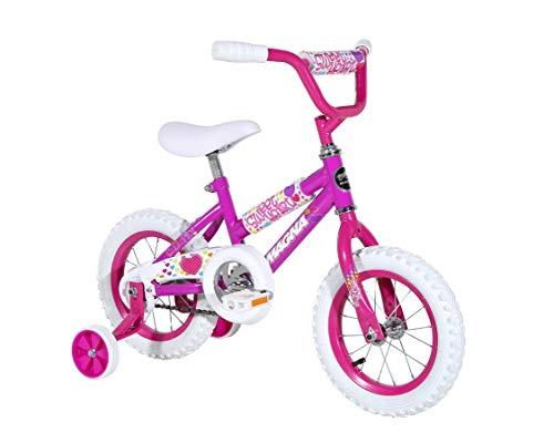 Dynacraft Magna Kids Bike Girls 12 Inch Wheels with Training Wheels in Purple for Ages 2 Years and Up