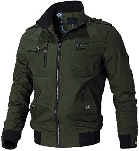 Chaqueta de hombre con cremallera completa más el tamaño de la chaqueta de múltiples bolsillos ocasionales cortavientos