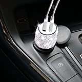 Dual USB Car Charger with Bling Bling Handmade Rhinestones Crystal, Car Decorations
