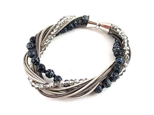 The Island Pearl Stainless Steel Piano Wire Bracelet with Black Agate