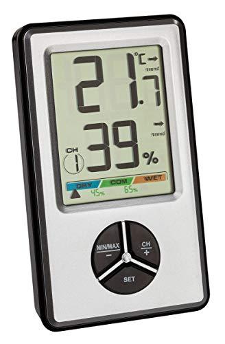 TFA Dostmann Digitales Thermo-Hygrometer, 30.5045.54, zur Raumklimakontrolle, als Sender verwendbar, Max Min Funktion