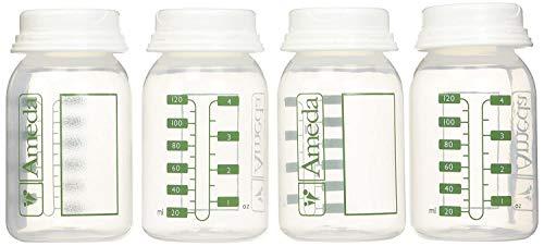 Ameda 4 Pack Breast Milk Storage Bottles, 4 Ounce