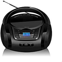 LONPOO LP-D03 Portable CD MP3 Player Boombox, FM Radio, Bluetooth, USB Port for MP3 Playback, Aux-in, LCD Display, AC/DC Operated (Black)