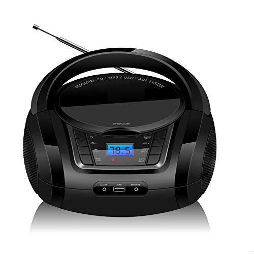 LONPOO Radio Portatili Boombox, Lettore CD MP3 Portatili con USB, AUX in, FM Radio, Bluetooth e Jack per Cuffie
