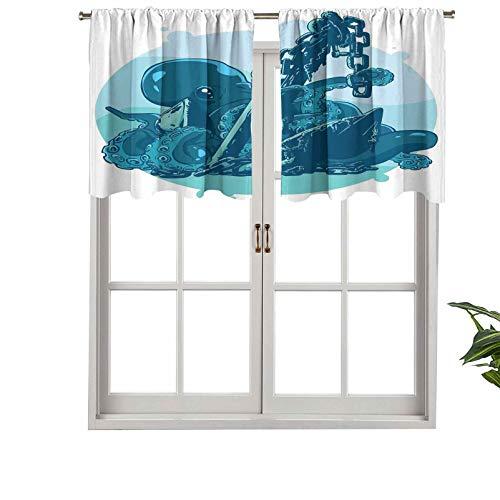 Hiiiman - Cortinas pequeñas para ventana, diseño de monstruo Kraken con ancla de tentáculos en Ocean Retro, juego de 1, 127 x 45 cm para cocina, comedor y sala de niñas