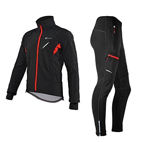 ROCKBROS Chaqueta y Pantalones para Ciclismo Térmicos Impermeables de Invierno con Forro Polar para Bicicleta Running Deportes, Unisex