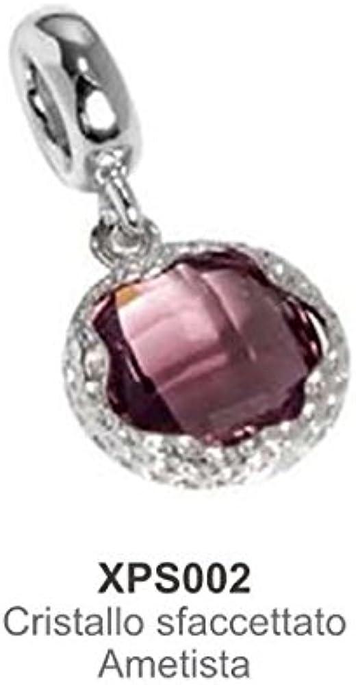 Boccadamo, charm,ciondolo per donna,in acciaio rodiato e cristallo sfaccettato color ametista Xps002
