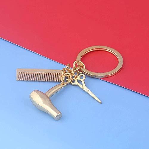 Aiiwqk Barbershop Goldschere Kamm Fan Anhänger Schlüsselanhänger Frauen Männer Männer Haarschnitt Auto Geldbörsen Schmuck Zubehör besondere Geschenke