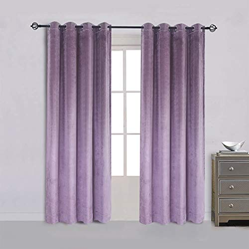 HOUSE 2 HOME  Super Soft Luxury Heavy  Set of 2 Lavender Velvet Panels  Blackout Energy Efficient  Grommet Curtain Panel Drapes  Light Blocking  Premium Quality  Sustainable Packing (108, 52)
