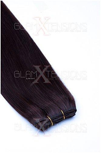 Weft Echthaartresse glatt 100% indisches Echthaar 80cm Haarverlängerung Extensions