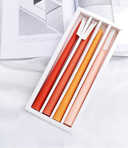 HorBous Candele Candelabro Lunghe Colorate Candele Profumate Regalo 4 Pezzi Durata Illuminazione Fino a 7 Ore (Arancio - Arancio)