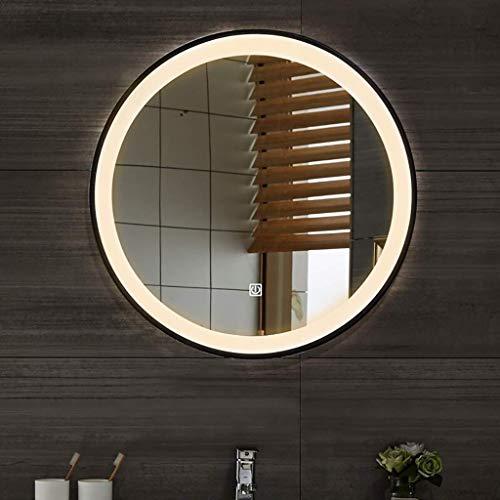 ZCZZ Espejo de baño redondo con luz LED iluminada marco de hierro y sensor táctil montado en la pared espejo de maquillaje, tamaño: 60/70 cm