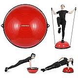 バランスボール 半円型 チューブ付き 半球 ダイエット 直径58㎝ EVERYMILE エクササイズボール 体幹トレーリング バランスボード 空気入れ付属 運動 ヨガ 腹筋 背筋(赤)