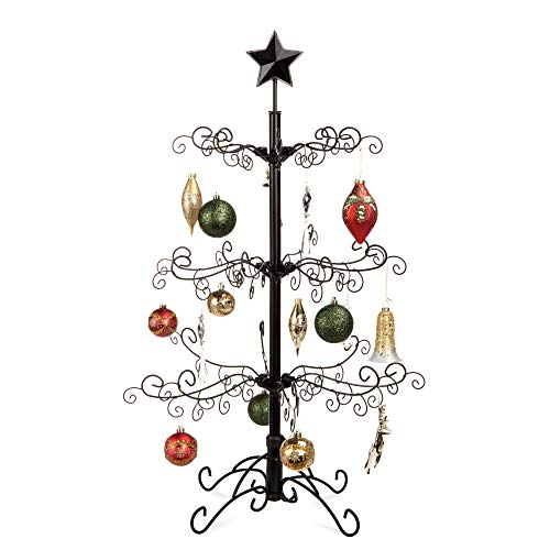Best Choice Products 3ft Wrought Iron Ornament Display Christmas Tree w/Easy Assembly and Stand - Black