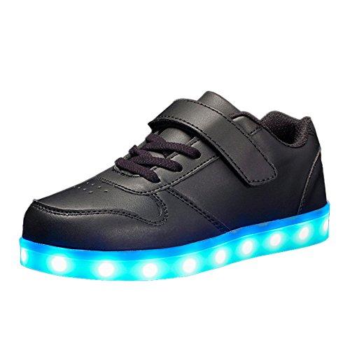Voovix Unisex-Kinder Licht Schuhe mit Fernbedienung Led Leuchtende Blinkende Low-top Sneaker USB Aufladen Shoes für Mädchen und Jungen(Schwarz,EU33/CN33)