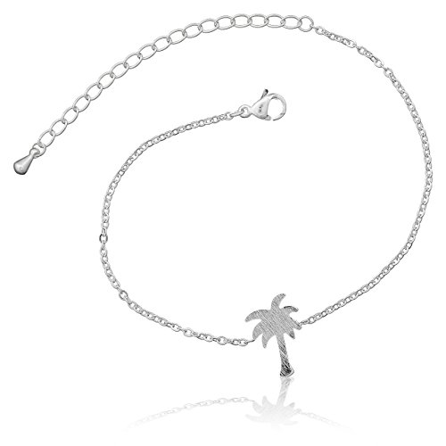 Selia Palmen Armband Tree Armreif Karibik minimalistische Optik Statement Edelstahl (Silber)