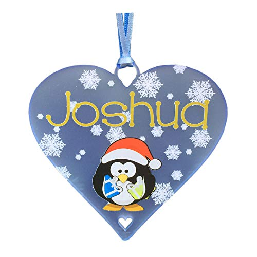 Penguin Christmas Name Bauble Personalised Decorations Xmas Tree Ornament Heart Plaque ANY NAME Gift Babies 1st Present Bespoke Tree Decoration (Pale Blue Acrylic - 10cm Heart))