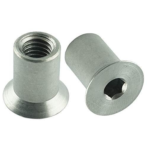 Eisenwaren2000 | M6 x 16 mm Hülsenmuttern mit Senkkopf und Innensechskant (5 Stück) - Edelstahl A1 1.4305 - rostfrei