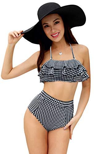 SHEKINI Dames Volant Neckholder Bandeau Buikweg High Waist Bikini Set Afneembare gewatteerde pads Grote maten voor vrouwen Bloemendruk Tweedelige bikinis