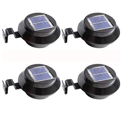 4 Pack Solar Powered LED Lights for Road, Outdoor, Garden Yard Wall Light, Fence, Solar Light (Black)