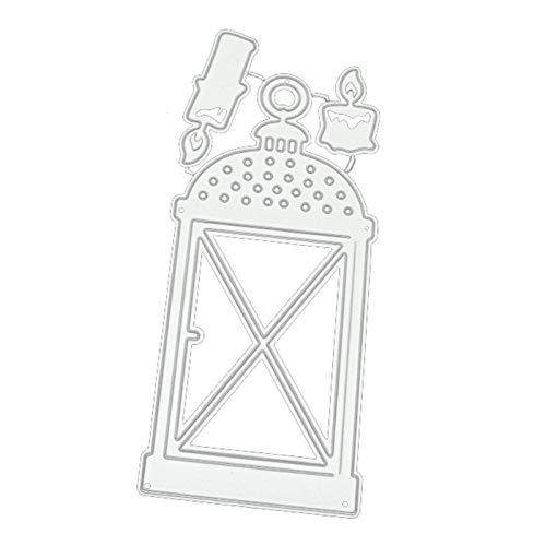 Moares Dies per la creazione di biglietti, vintage a forma di lampada a candela a forma di goffratura fustella per biglietti di invito fai da te - argento