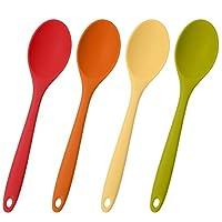 xinzistar 4 pezzi cucchiaio silicone cucina, 27.5cm miscelazione cucchiai utensili resistente al calore multicolore cucchiaio servizio per cucina cottura