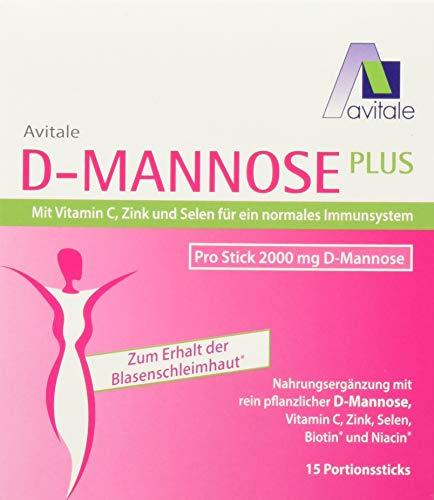 Avitale D-Mannose Plus 2000 mg Stick mit Niacin und Biotin zur Förderung der Blasenschleimhaut, 15 Stück